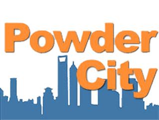 Powder City logo featuring a city skyline