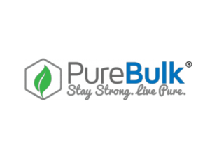 Pure Bulk Logo featuring a green leaf and blue bulk text
