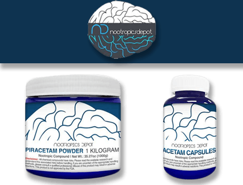 Nootropics Depot Piracetam Powder 1 KG jar and Capsule Bottle
