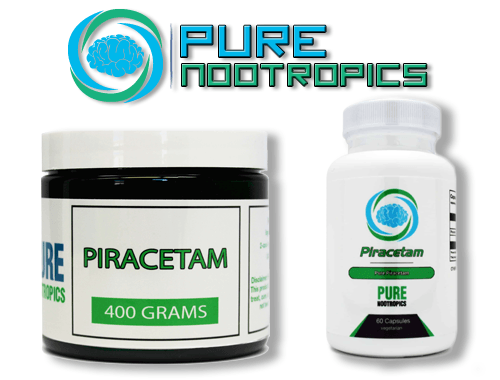 Pure Nootropics Piracetam Powder Jar and Capsule Bottle