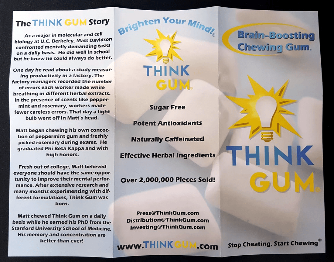 Think Gum Brochure displaying information about the nootropic gum