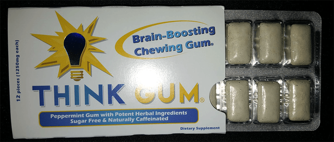 Think Gum pieces of gum shown with their color, shape, and size