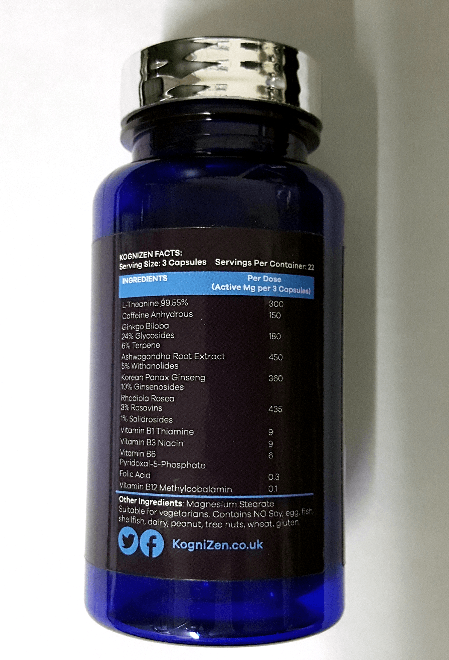 Ingredients listed on the KogniZen bottle