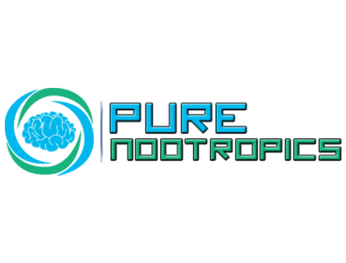 Pure nootropics logo featuring a blue brain