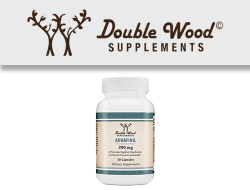 Double Wood Supplements Logo with their adrafinil capsules bottle