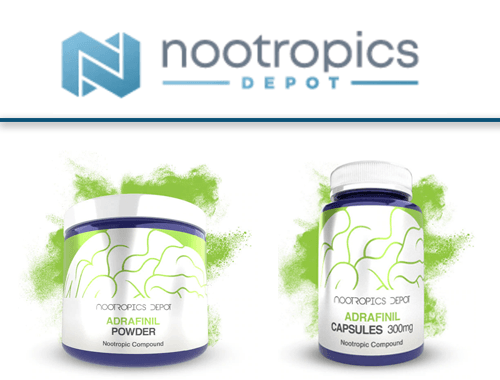 Nootropics Depot Logo with their adrafinil capsules bottle and powder jar