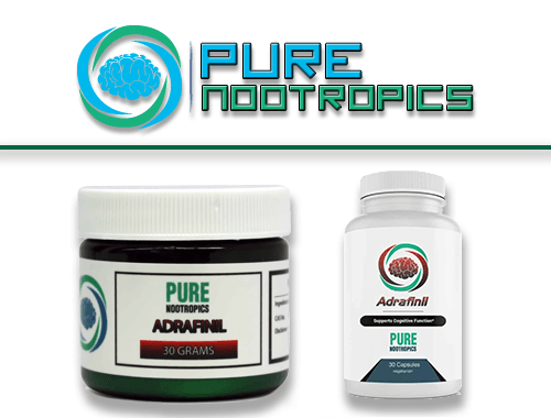Pure Nootropics Logo with their adrafinil capsules bottle and powder jar