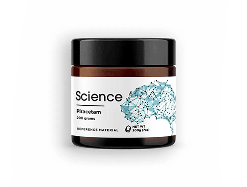 Science.bio jar of piracetam powder featuring a blue brain logo